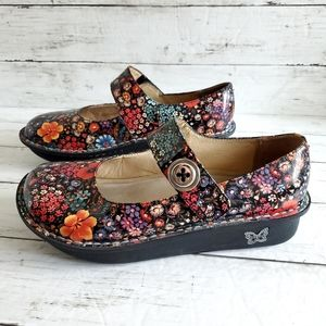 Alegria Paloma Leather Floral Mary Janes Size 9